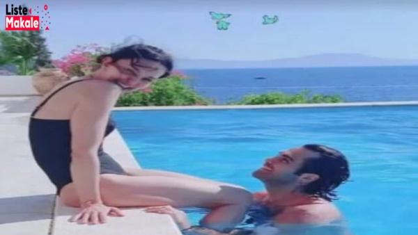 Hande Ataizi Sevgilisiyle Havuz Fotoğraflarını Paylaştı